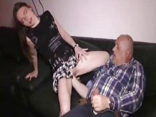 Fat Old Pervert Fisting Her Greedy Teen Snatch