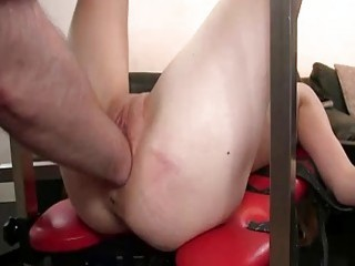 Fisting Her Huge Teen Pussy In Bondage