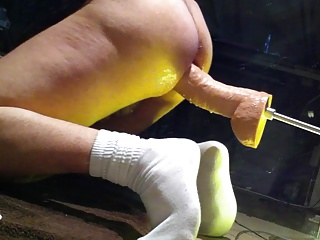 Machine Stretched By Hung Huge Dildo!