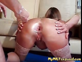 My MILF Exposed Rough Anal Fisting Of Sexy Mom In Stockings