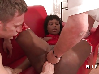 French Black Slut Double Fist Fucked And Sodomized