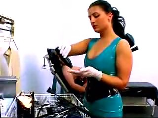 Girl In Corset Tied To Medical Chair Getting Her Pussy Fisted Fucked With Huge Dildo By Mistress