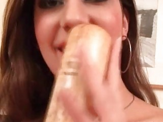 Big Titted Slut Drilling Wet Cunt With Baseball Bat